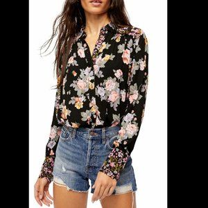 Free People Hold On to Me Floral Button Blouse NEW